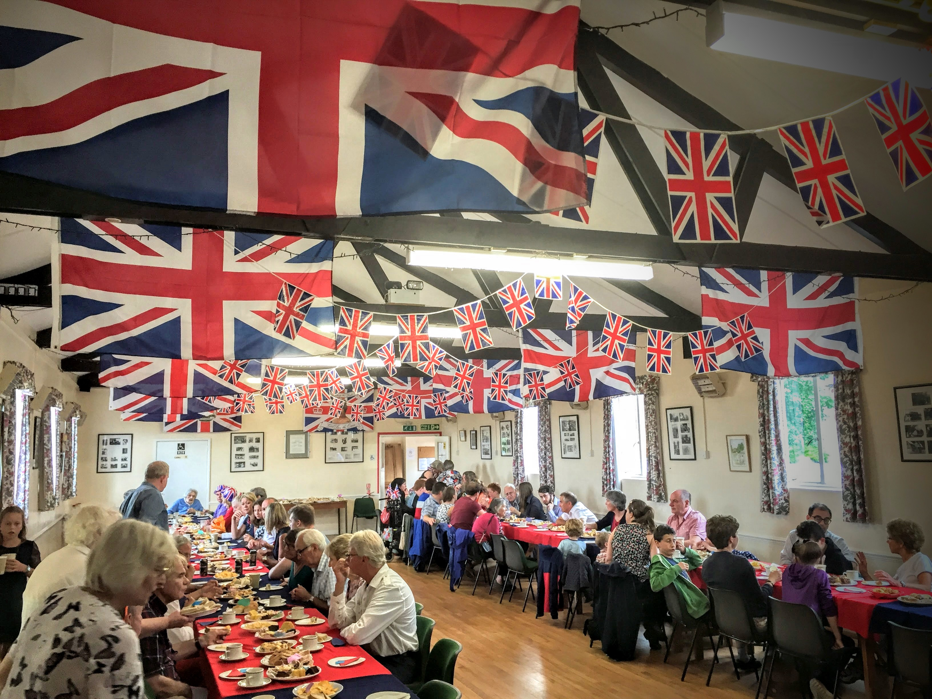 tea party in the village hall