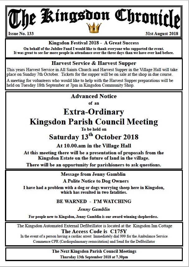 Kingsdon Chronicle August 2018