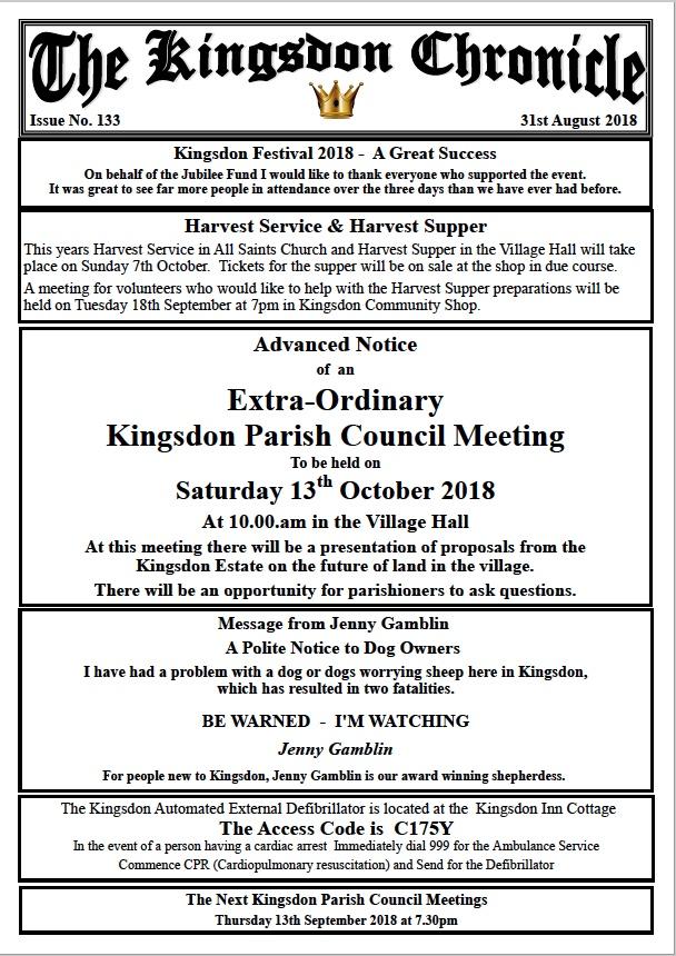 Kingsdon Chronicle August 2018